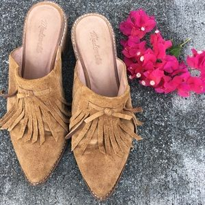 MADEWELL brown leather fringed boot mules